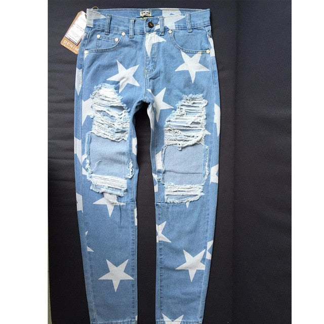 Big Hole Five-pointed Star Ripped Light Blue Denim  Boyfriend Jeans