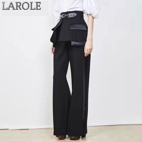 Black High Waist Loose Fit Wide Leg Pants With Belts