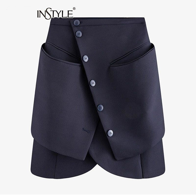 Low Pockets Empire High Waist Skirt