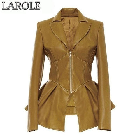 Irregular Lapel Collar Long Sleeve Jacket
