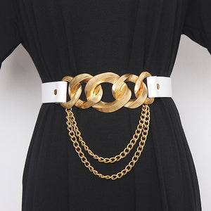 Gold Chain Hit PU Leather Belt