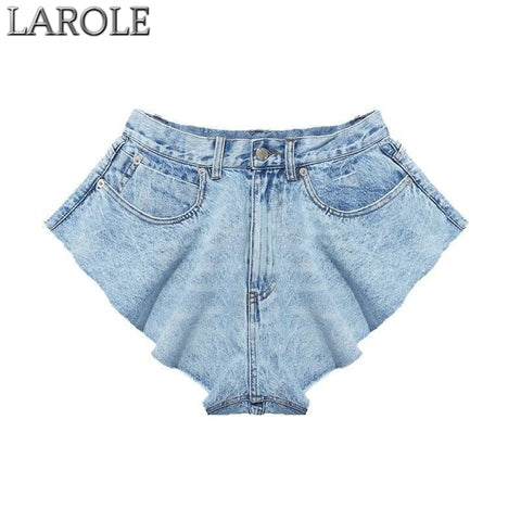 Vintage  High Waist Ruffle Hem Loose Ruched Denim Shorts Skirt