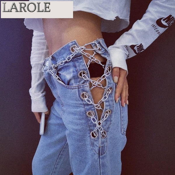 Casual  High Waist Patchwork Chains Vintage Jeans