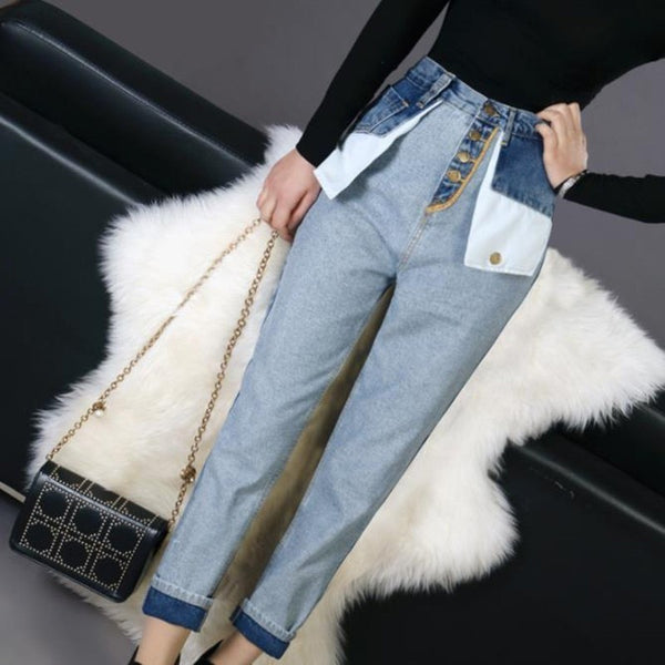Reverse High Waist Colors Patchwork Pockets Ankle Length Jeans
