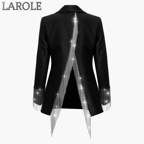 Open Back Long Sleeve Single Button Heavy Chains Tassel  Irregular Blazer