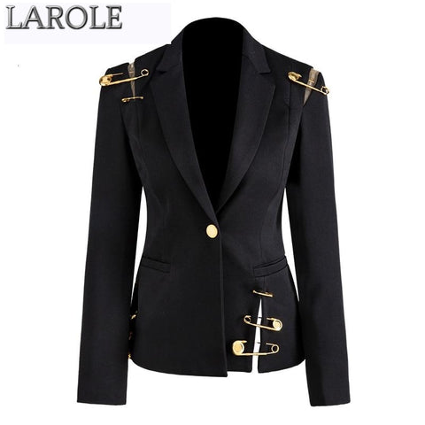 Black Notched Long Sleeve Slim Elegant Safety Pin  Jacket