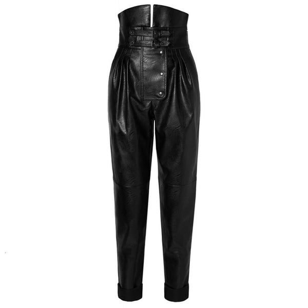 PU Leather High Street Style Asymmetrical Pants