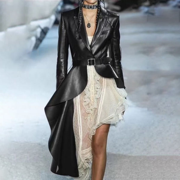 PU Leather Trench Lapel Collar Long Sleeve Sashes Irregular Hem  Jacket