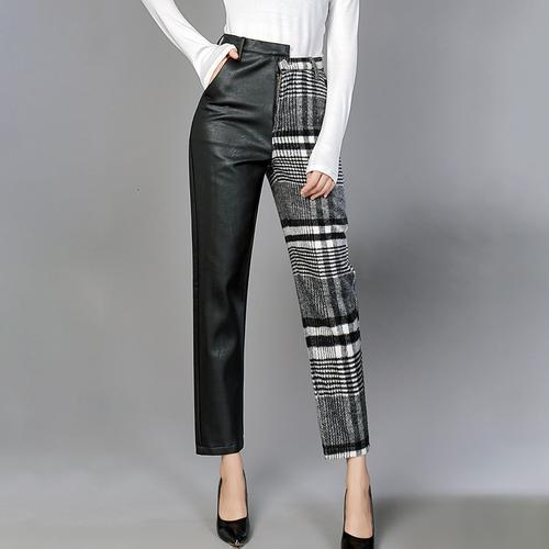 High Waist Asymmetrical Patchwork Ankle Length Two-Tone Pants
