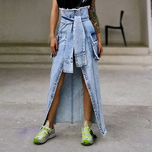 Edgy Patchwork Asymmetric  High Waist Oversize Denim Skirt