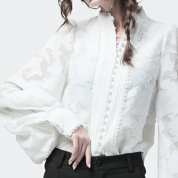 Oversize Long Sleeves Lace Blouse