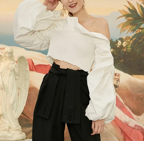 White  Ruched Ruffles Long Sleeve Blouse