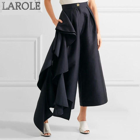 Side Ruffles Patchwork  High Waist Oversize Wide Leg Pants