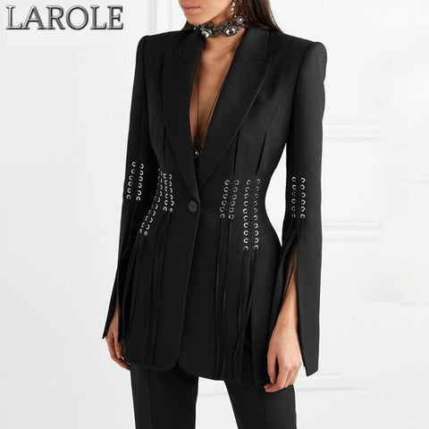 Deep V Neck Lapel Long Sleeve Split Slim Fit Black Blazer