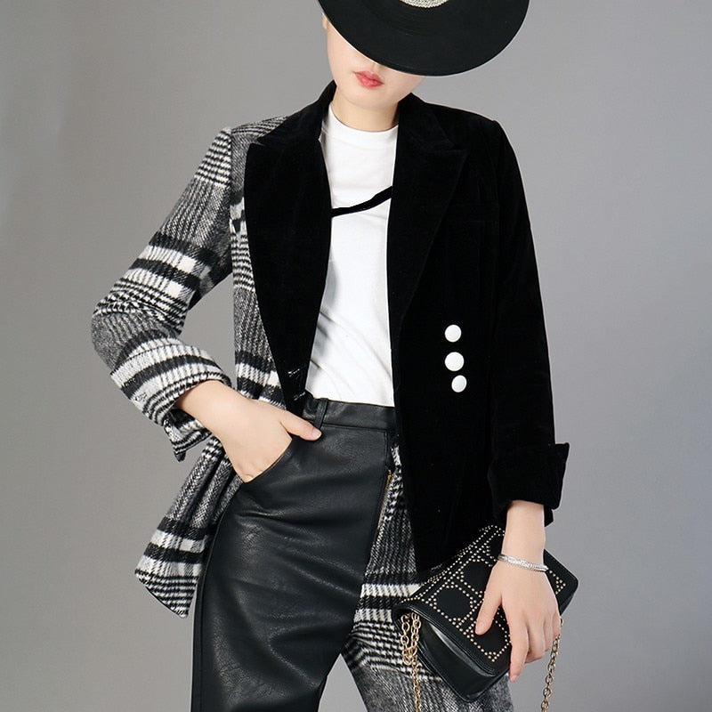 Two-Tone Long Sleeve Wool Plaid Blazer