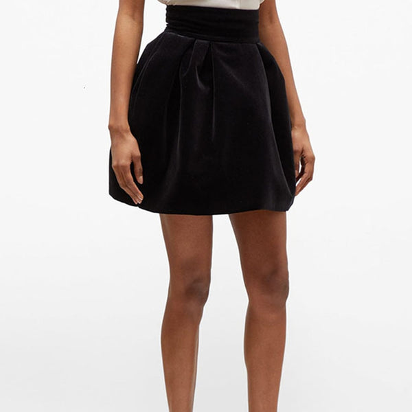 Black High Waist Velour Ruched A-Line  Skirts