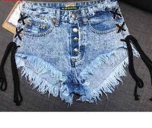 Vintage Snowflake Inelastic Women Denim  high Waist Denim Shorts