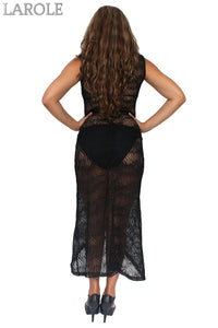 Women's Juniors Sheer Crochet Long Beach Dress