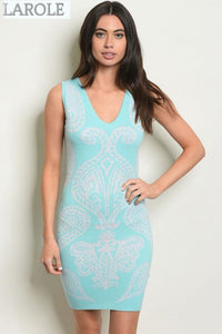 LAROLE| SHORT MINI MINT WHITE BANDAGE  DRESS