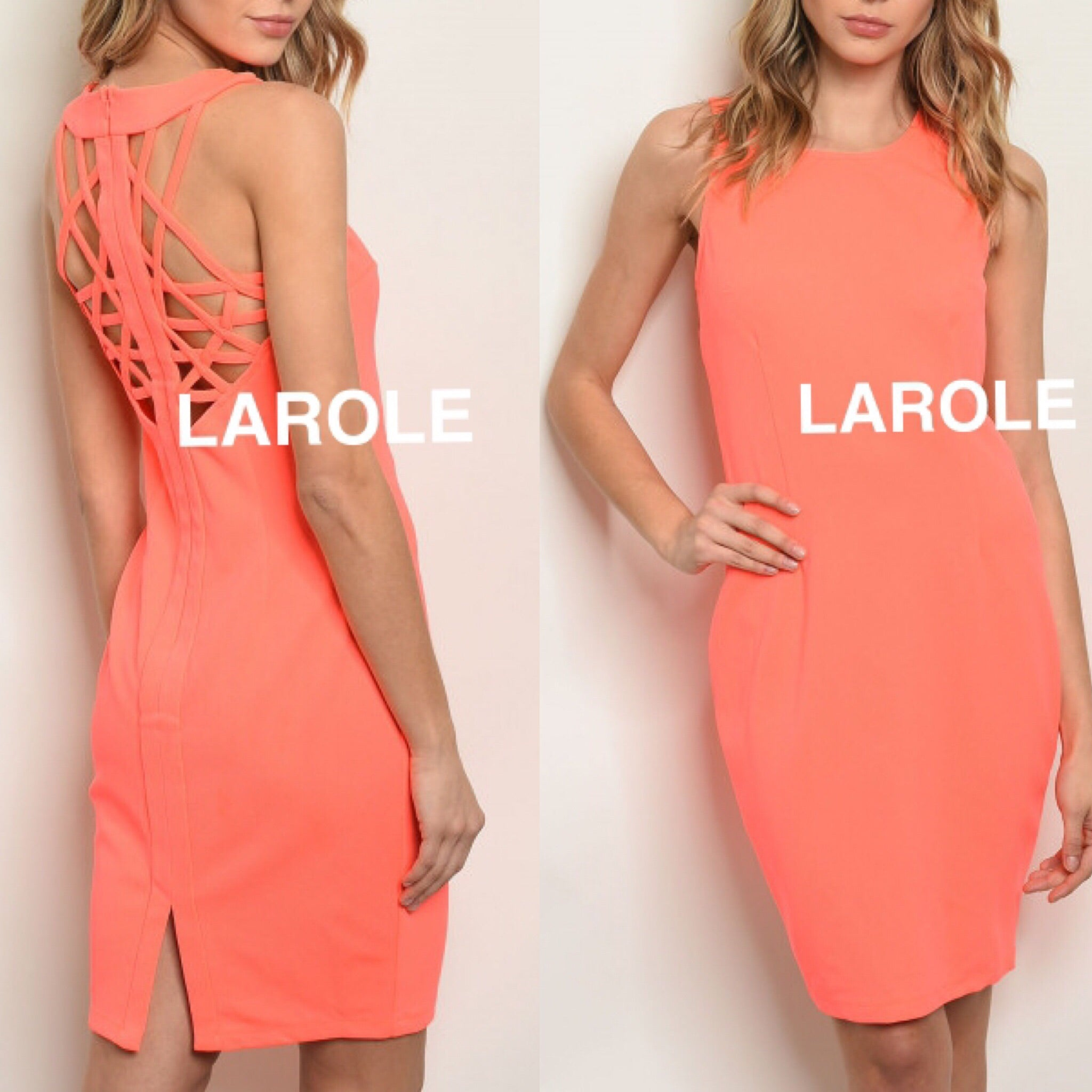 ARK & CO| SEXY INTRICATE BACK CORAL COCKTAIL Midi DRESS