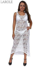 Load image into Gallery viewer, Women's Juniors Sheer Crochet Long Beach Dress