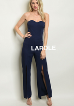 Load image into Gallery viewer, LAROLE| SWEET HEART BLUE  FRONT SLIT STRAPLESS JUMPSUIT