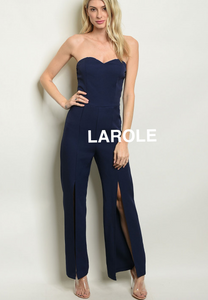 LAROLE| SWEET HEART BLUE  FRONT SLIT STRAPLESS JUMPSUIT