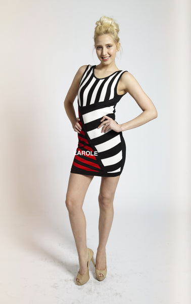 Black , White  and red Stripes Bandage Dress, Clubwear Dresses | Nightclub Dresses | Strappy Dresses | Larole