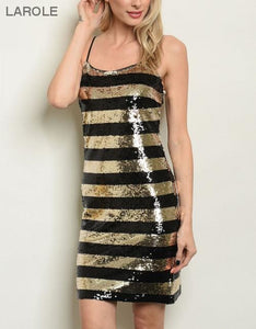 LAROLE| BLACK AND GOLD SPAGHETTI STRAP DRESS