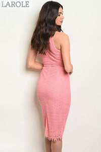 LAROLE | DREAMY SLEEVELESS PINK PENCIL LACE MIDI DRESS WITH HIGH NECK