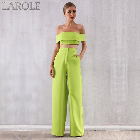Two Pieces Off Shoulder Green Short Sleeve Top & Full Length Pants Sets