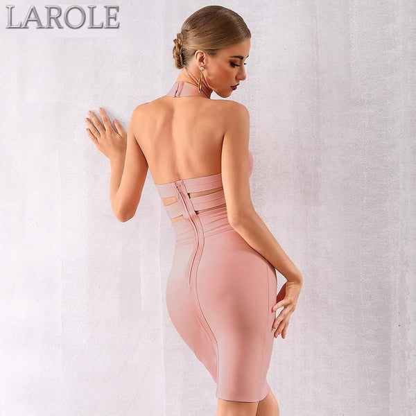 Khaki Elegant Sexy Hollow Out Backless Celebrity Party Dress