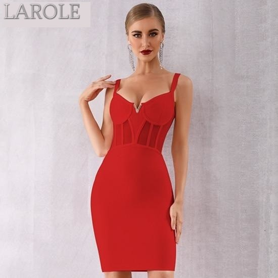Red Spaghetti Strap V Neck Lace Bandage Dress