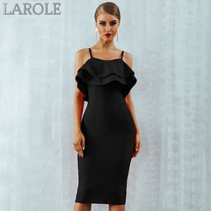 Strapless Ruffles Midi Evening Little Black Party Dress