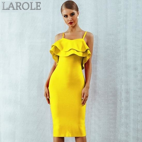 Yellow Strapless Ruffles Midi Celebrity Evening Party Dress