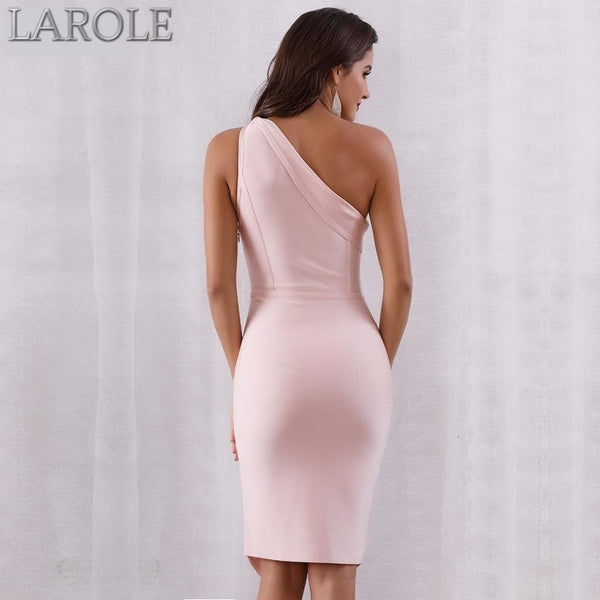 One Shoulder Middle Split Light Pink Bandage Dress