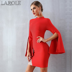 Sexy Flare Sleeve Red Black Mini Celebrity Evening Party Dress- Also available in black