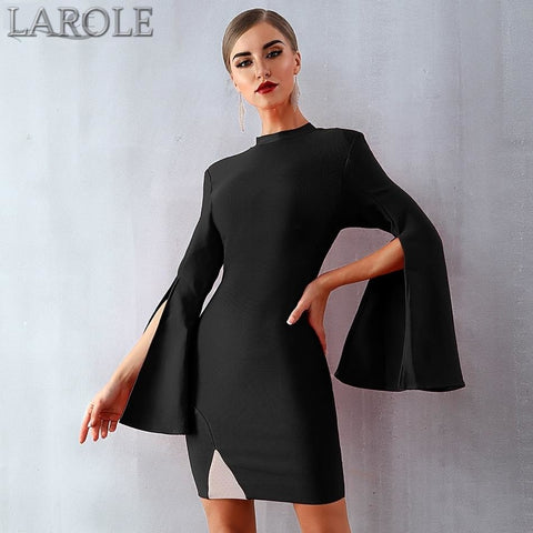 Sexy Flare Sleeve Black Mini Celebrity Evening Party Dress