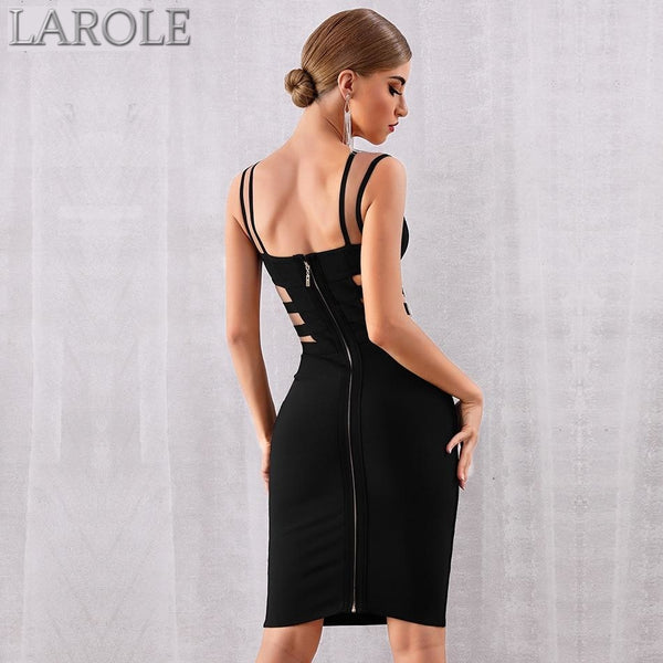 Sleeveless Sexy Hollow Out Spaghetti Strap Bandage Midi Dresses