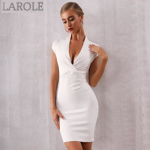 Deep V Neck White Mini Party Dress