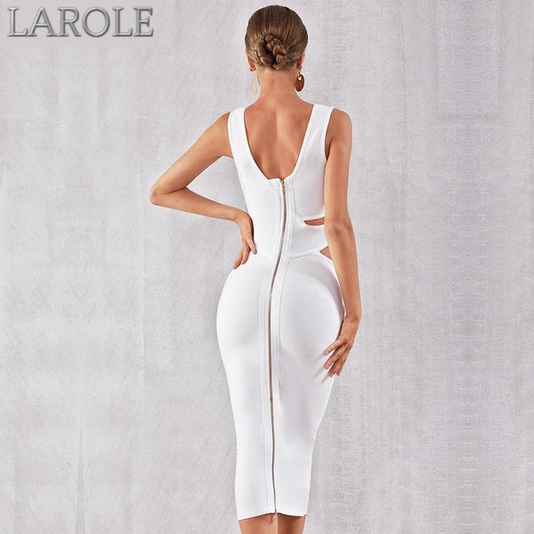 White Tank Sexy Cut Out Sleeveless Bodycon Midi  Party Dress