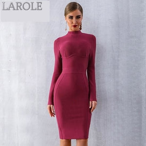 Sexy Wine Red Long Sleeve Evening Party Bandage Dresses