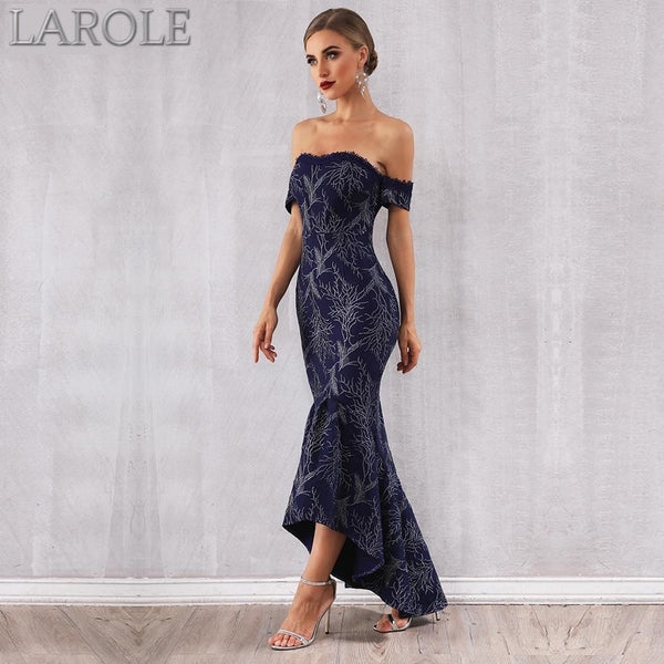Off Shoulder Short Sleeves Elegant Evening  Runway Dress