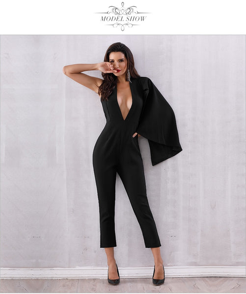 Black Deep V-Neck Halter Half Batwing Sleeve Jumpsuit