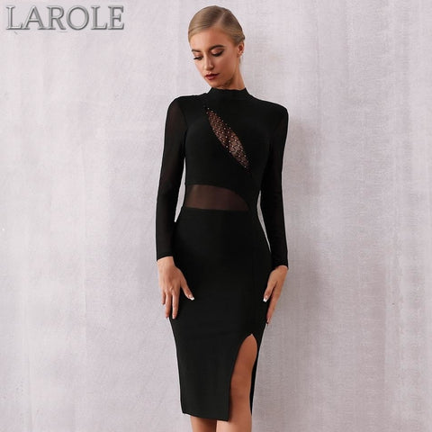Long Sleeves Lace Hollow Out Midi Club Evening Bandage Dress