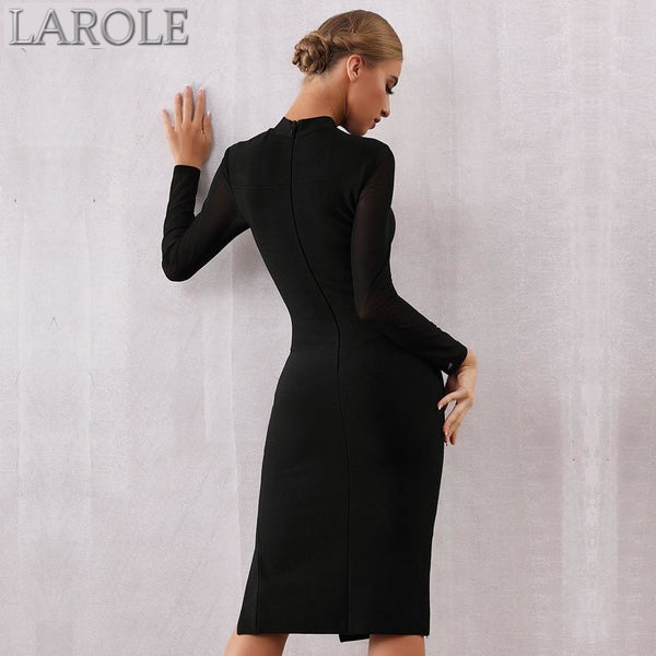 Long Sleeves Lace Hollow Out Midi Little Black Dress