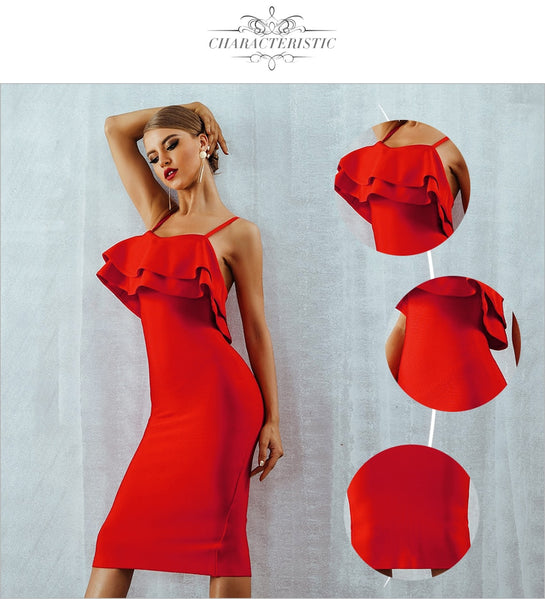 Red Strapless Ruffles Midi Celebrity Evening Party Dress