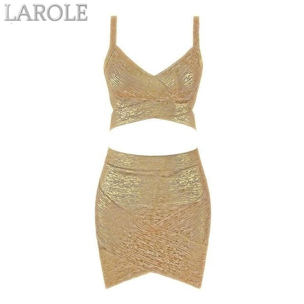 Gold 2 Two pieces Set  Deep V Top & Mini Skirt