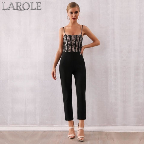 Lace Top Spaghetti Strap Bodycon Club Jumpsuits