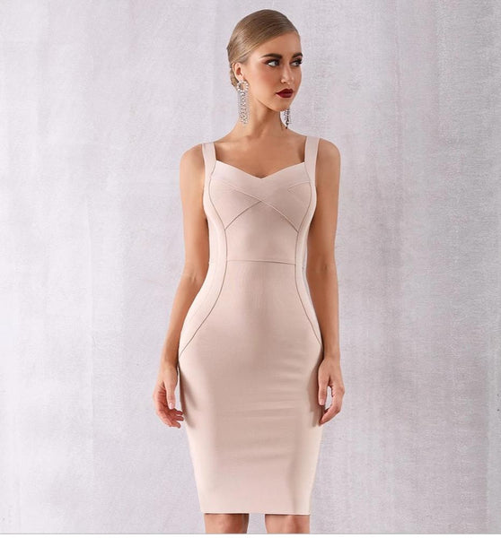 Beige Sweetheart Cocktail Bandage Midi Dress - Available more colors